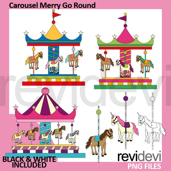 Carousel Merry Go Round Clipart Great For Amusement Park Theme Projects Have Fun Using