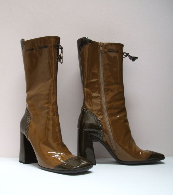 Prada #vintage two-tone brown patent leather square toe #boots, chunky heel, size 8. #Prada SOLD