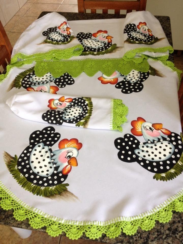 Cantinho da Pintura em Tecido: Jogo de cozinha de galinhas....Crochet verde.