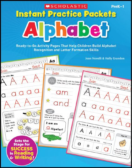 Ready-to-use activity packets include fun, meaningful exercises that offer the repeated practise students need to really learn their letters. Find the Instant Practice Packets Alphabet in the Classroom Essentials Catalogue: OPUS 2236588 Page 111 See the pages here: http://scholastic.ca/clubs/cec/