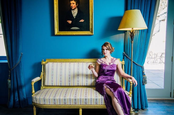 "Slinky purple satin floor length evening gown dress ""Gabriella"" by Esther Catherine with lace detail shoulders and led slit. ES Photography and Social Media, HVR Beauty, hair by Abigail Tooth, styling by Miss Helen Williams. Shot in Kinross House, Scotland."