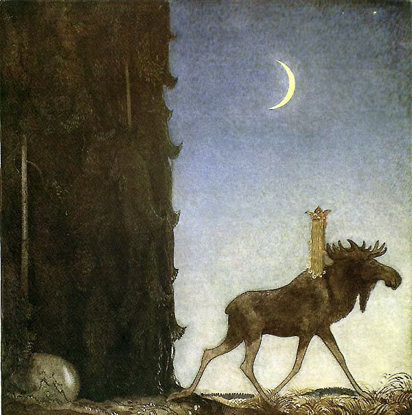 """John Bauers billeder er så svenske at man næsten mærker den dybe skov med alle sagavæsnerne på egen krop bare ved at kigge på dem. """"Sagan om älgtjuren Skutt och lilla prinsessan Tuvstarr"""" from """"Bland Tomtar och Troll 1913″, by John Bauer"""