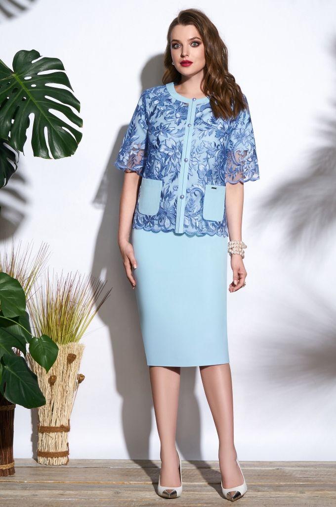 50aed8624a56 Легкий костюм нежно-голубого цвета, костюм с юбкой и кружевным жакетом,  элегантный, летний, для офиса, деловой, нарядный