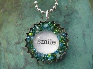 Bottlecap Necklace-like the words and beads.