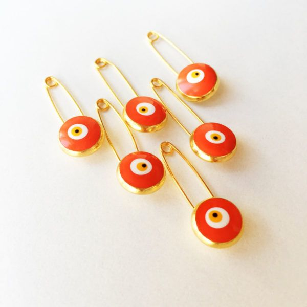 Lucky orange evil eye safety pin – 5 pieces $9.50   Lucky evil eye safety pin, protection for baby, gold plated evil eye pins, baby boy gift pin, baby shower gift, stroller, baby pin  ◆ gold plated Orange little safety pin ◆ big enamel evil eye for protection