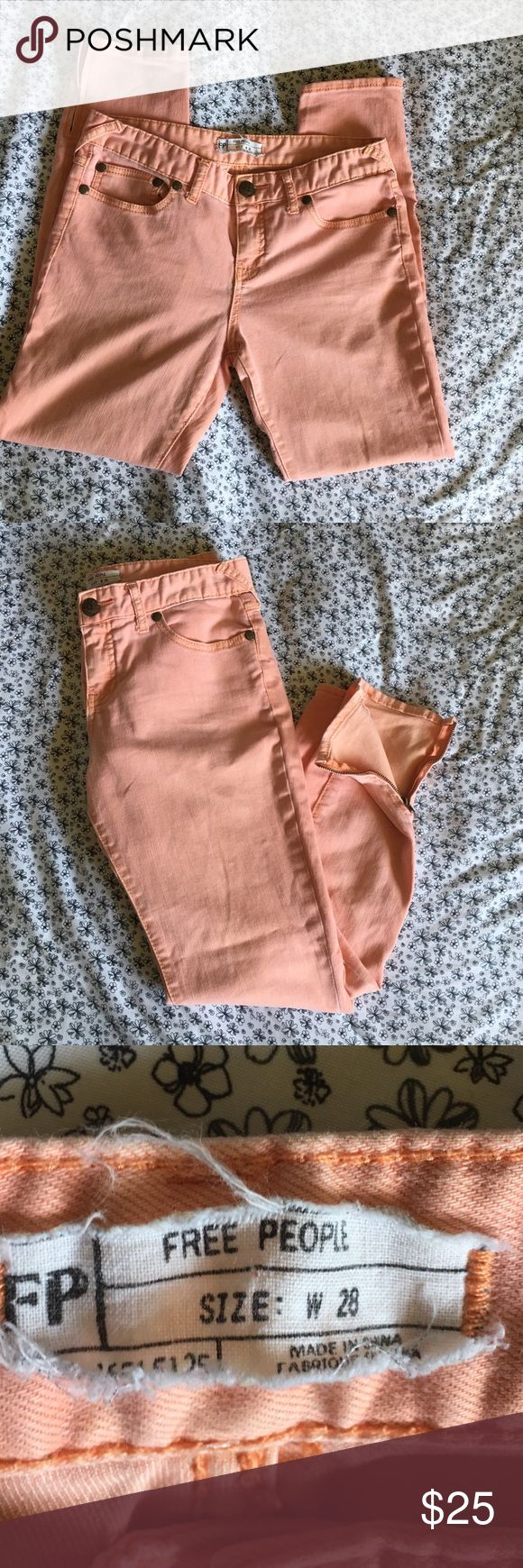 """🆕Free People peach skinny jeans Peach colored Free People skinny jeans. Item is previously loved and in good condition. If you have any questions leave them below. Measurements: Waist 28""""-30"""", Hips 32"""", Inseam 26 1/2"""", Outerseam 34"""" and Leg Opening 10"""" with adjustable zipper Free People Jeans Skinny"""
