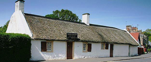Robbie Burn's Cottage in the village of Alloway, just south of Ayr, Scotland