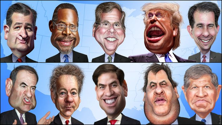 Ted Cruz Ben Carson Jeb Bush Donald Trump Scott Walker   Bottom Row L-R Mike Huckabee Rand Paul Marco Rubio Chris Christie John Kasich   This caricature of Ted Cruz was adapted from a Creative Commons licensed photo from Jamelle Bouie's Flickr photostream.