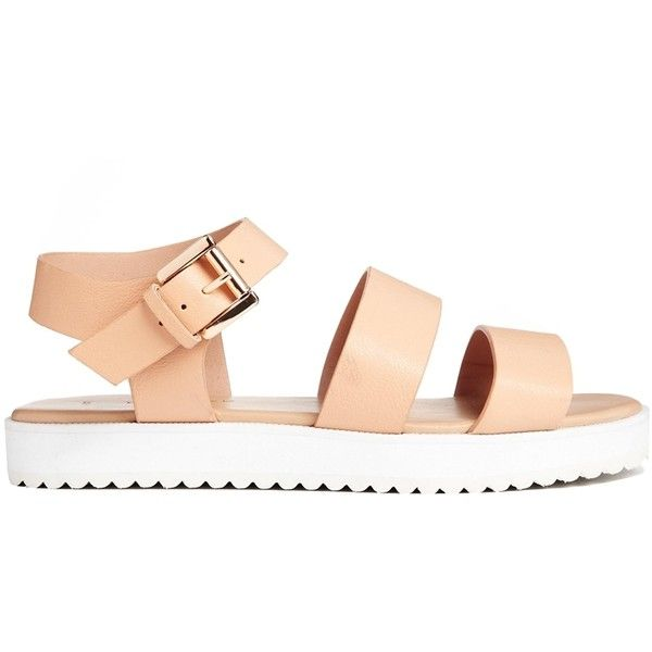 New Look Flux Cleated Sole Flat Sandals (1,440 PHP) ❤ liked on Polyvore featuring shoes, sandals, asos, clothes - shoes, faux leather sandals, flat sandals, flat shoes, vegan sandals and double strap sandals