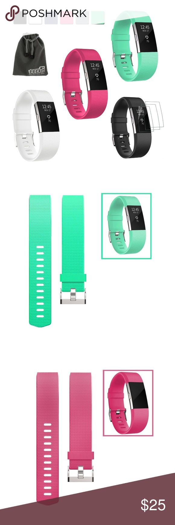 Fitbit ChargeHR 2 bands, set of 3 or individually Size large, bands only, not actual Fitbit screen.  Never been used, purchased on April 5th (ordered wrong size accidentally & no returns through the company) PRICING:  $25 for all three or $10 individually fitbit Accessories Watches