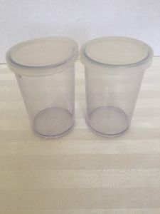 Lot-of-2-Donvier-Yogurt-Maker-Cups-with-Lids-Plastic-Clear-Pair-837418-Set