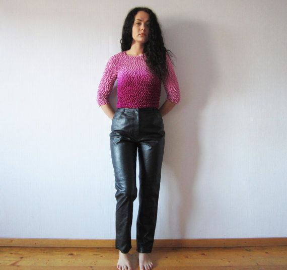 Vintage 80s Black Leather Pants High Waisted Peg Leg