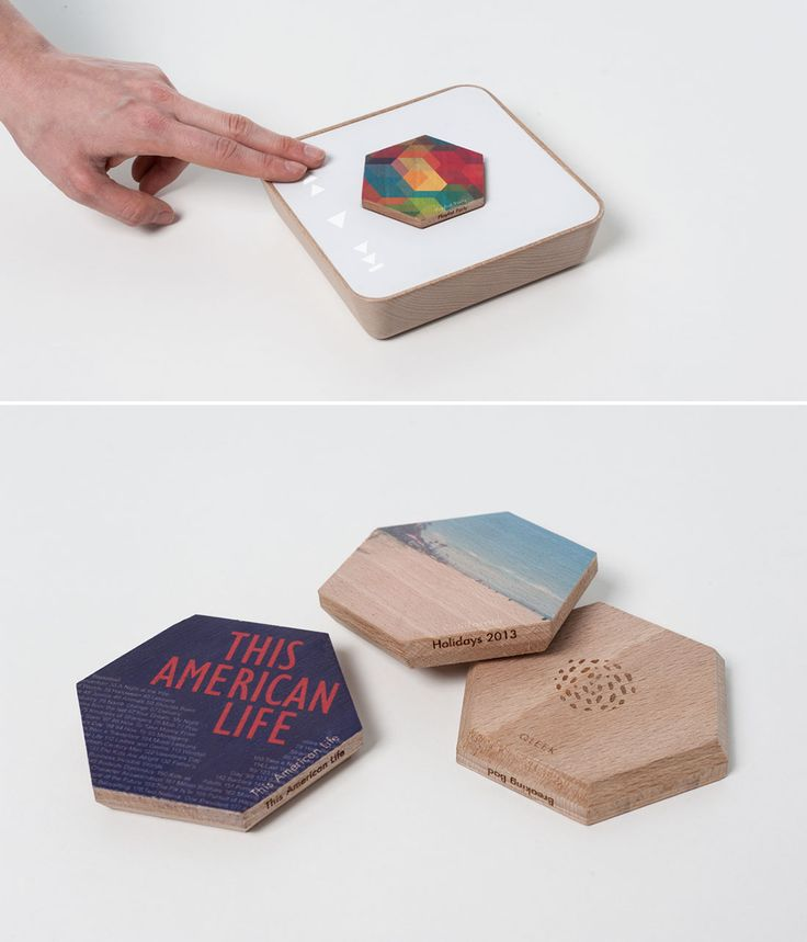 You can store and play your digital library on wooden hexagons with Qleek.