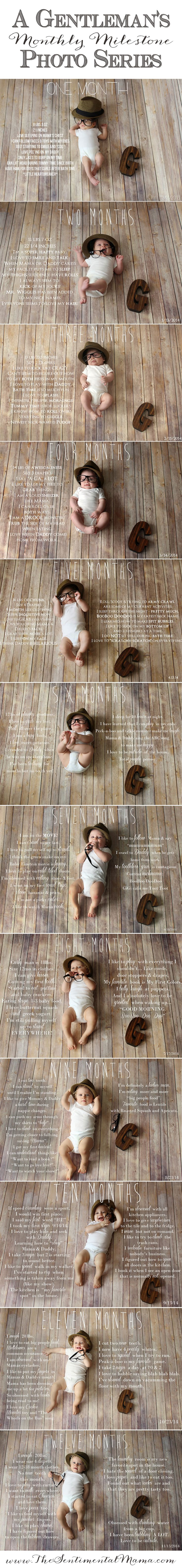 Monthly Baby Photos | Tips and Lessons Learned Too! | Milestone Pictures | Gentlemans Monthly Milestone Photo Series | http://thesentimentalmama.com/monthly-baby-photos-tips-tricks/