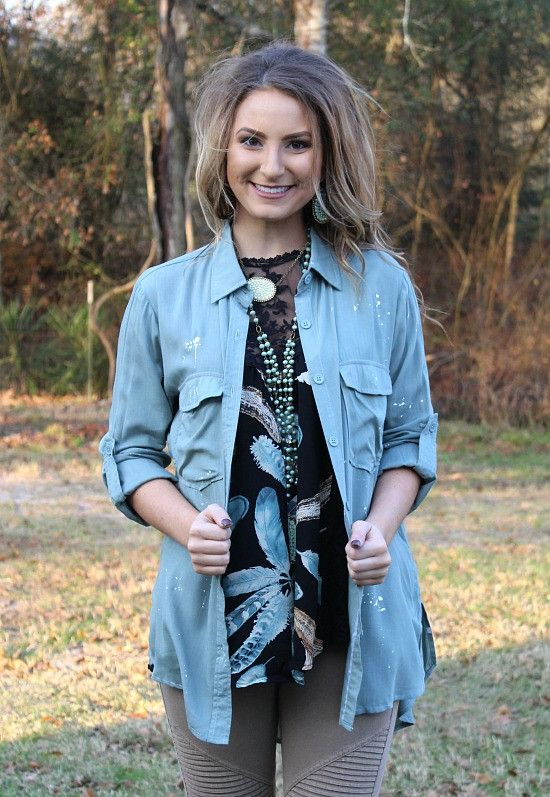 Modern Touch Paint Splatter Button Up Top in Mint – Giddy Up Glamour Boutique