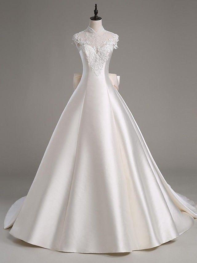 Lanting Bride® Linha A Vestido de Noiva Cauda Catedral Gola Alta Cetim / Tule com Com Apliques / Miçanga / Cristais - BRL R$675,97