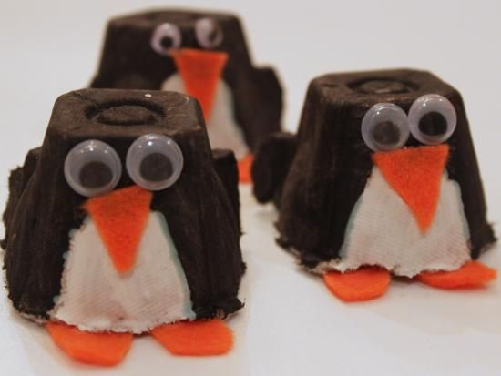 Cool project from www.kiwicrate.com/diy: Egg Carton Penguin