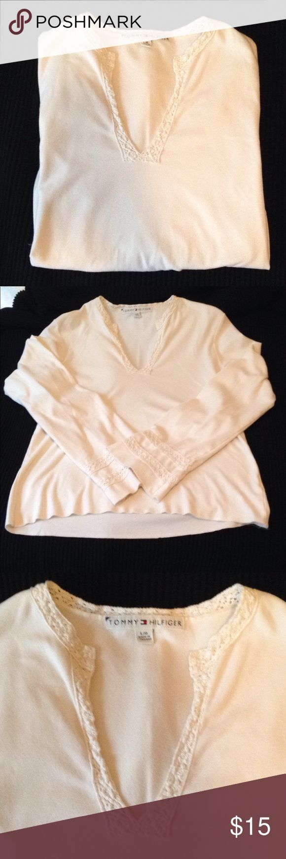 TOMMY HILFIGER L/G Stylish TOMMY HILFIGER Shirt. Accented V Neck And Sleeves (looks like crochet). Gently Used. Size Large But I Would Say It Fits More Like A Medium. Would Go Great With Bohemian Wardrobe! Tommy Hilfiger Tops