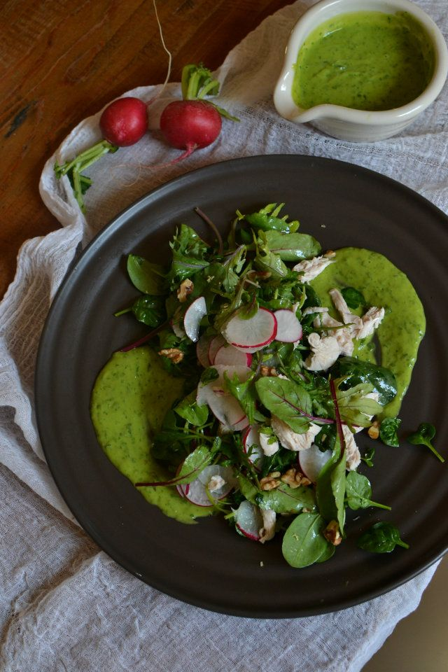 chicken salad with green goddess dressing from healthy everyday pete evans