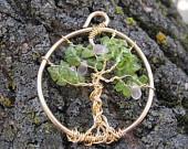 Peridot & Rose Colored Glass Tree of Life Pendant