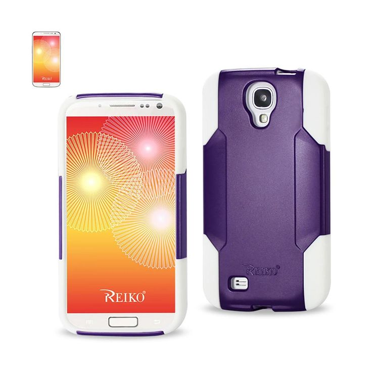 Reiko Samsung Galaxy S4 Hybrid Heavy Duty Case White Purple | MaxStrata