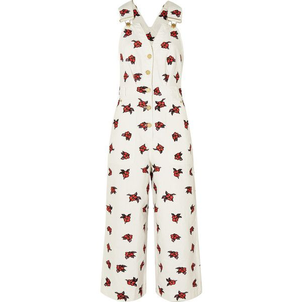 House of Holland Embroidered denim overalls ($215) ❤ liked on Polyvore featuring jumpsuits, white, overalls jumpsuit, bib overalls, denim overalls, white jumpsuit and white bib overalls
