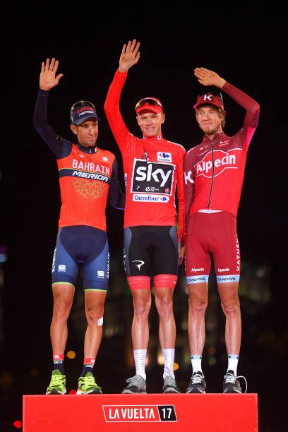 72nd Tour of Spain 2017 / Stage 21 Podium / Vincenzo NIBALI / Christopher FROOME Red Leader Jersey / Ilnur ZAKARIN / Celebration / Arroyomolinos...