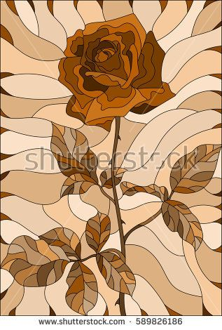 Illustration in stained glass style flower of rose ,Sepia, brown scale