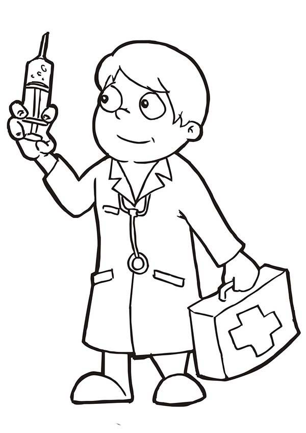 Doctor Holding Epydermic Needle Coloring Page Coloring Sun Coloring Pages Doctor For Kids Printable Coloring Book