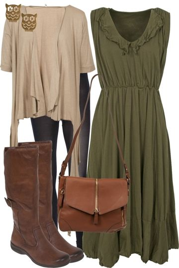 Mesop-khaki-dress-with-vigorella-cardi-and-long-boots-owl-earrings-outfit_brand_image