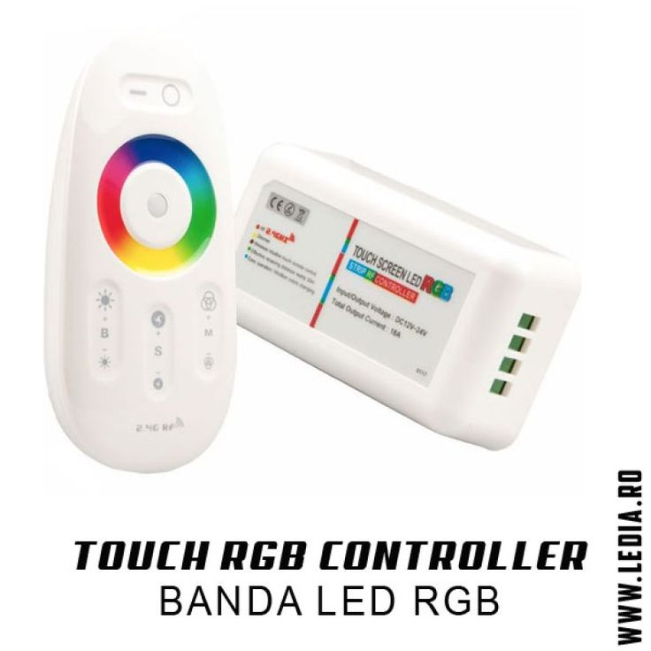 Controller si telecomanda banda led RGB cu touch ! Controller cu zona tactila si control total pentru banda led rgb 5050 sau 3528