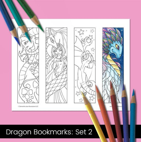 Coloring Bookmarks Dragon Coloring Pages Printable Etsy Coloring Bookmarks Dragon Coloring Page Dragon Bookmark