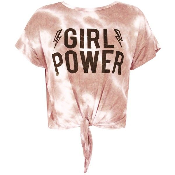 """Sans Souci Mauve front knot """"""""girl power"""""""" crop top ($18) ❤ liked on Polyvore featuring tops, green, tie-dye crop tops, tye dye tops, tie-dye tank tops, sweater pullover and crop top"""