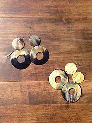 Double Coin Earrings - $20 - Horn & Bone Collection - All natural materials. Handmade in Haiti. Support job creation in Haiti! Shop @ elishac.com
