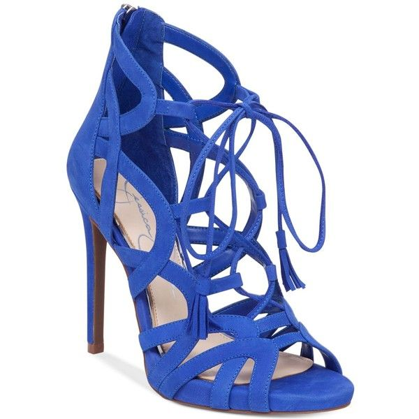 Jessica Simpson Racine Lace-Up High-Heel Gladiator Sandals ($110) ❤ liked on Polyvore featuring shoes, sandals, new colbalt blue, gladiator sandals, strappy lace up sandals, high heel gladiator sandals, strap sandals and strappy sandals