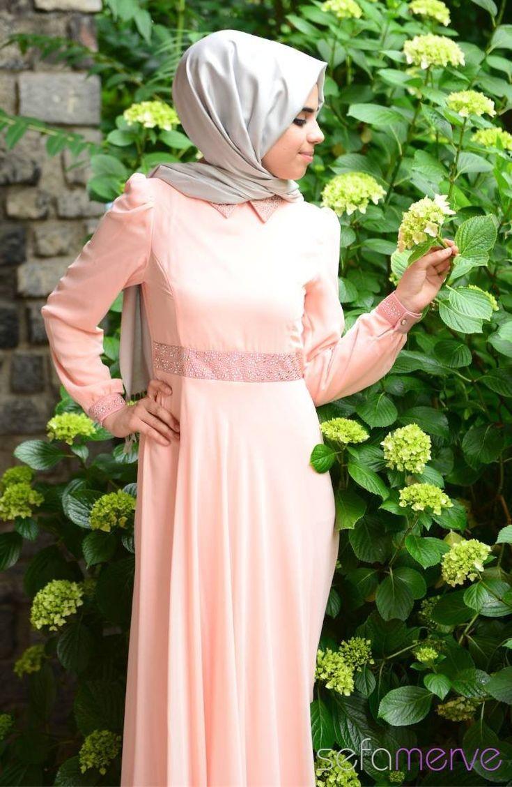 2014 Yazlık ZRF Tesettür Elbise 9044-16 Somon