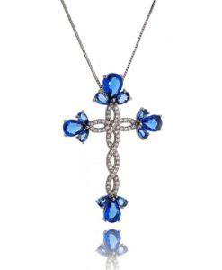 comprar crucifixo semi joias religiosas com zirconia safira