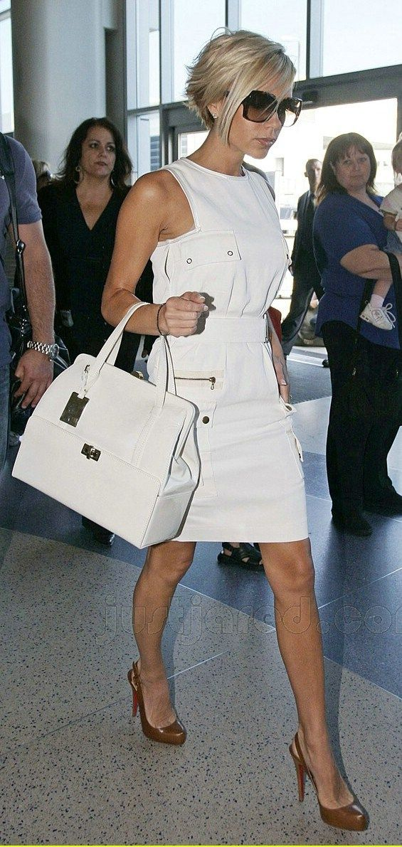 *Hermes Bags, Dresses Up, Cute Dresses, Fashion Styles, Red Shoes, Beckham Style, Victoria Beckham, Vb Style, Little White Dresses