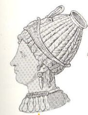 The tutulus was a cone like hairstyle for women created by drawing the hair to the top of the head and wrapping it in cloth bindings.