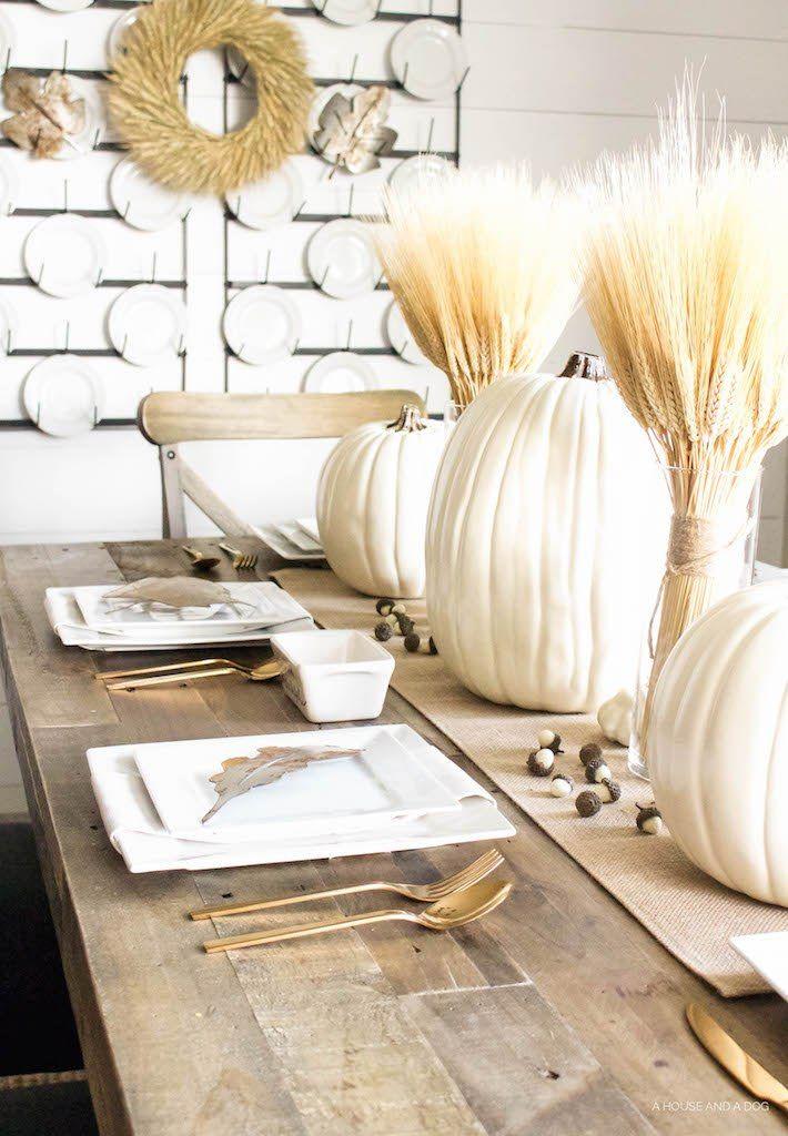 Neutral Gold & White Thanksgiving Table