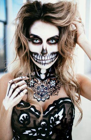 fashion skeleton halloween makeup                                                                                                                                                                                 More