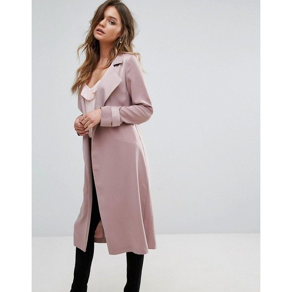 Miss Selfridge Smart Duster Coat (109 AUD) ❤ liked on Polyvore featuring outerwear, coats, pink, fur-lined coats, pink oversized coat, pink duster coat, miss selfridge coat and duster coat