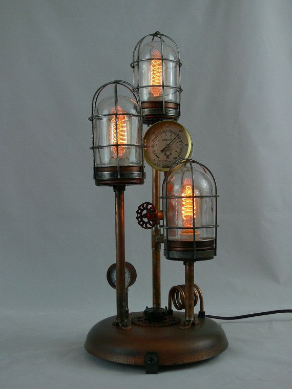 Steampunk Lamp Art Gauges Copper Brass Lamp Edison Lighting Gears Ar