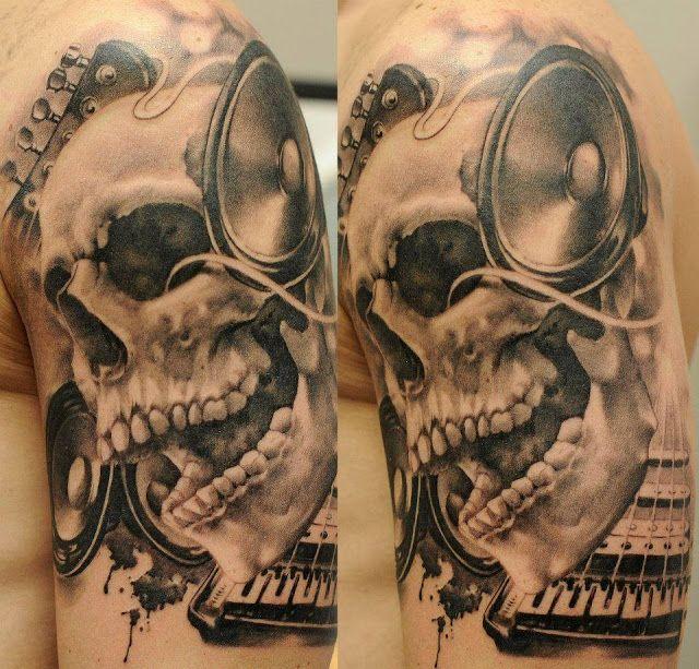 3d skull tattoo with speakers dj jt pinterest ink skulls and ink tattoos. Black Bedroom Furniture Sets. Home Design Ideas