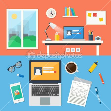Office, workspace and workplace concepts for web, management, infographic, development, design. Flat design style modern vector illustration. — Illustrazione Stock #53574639