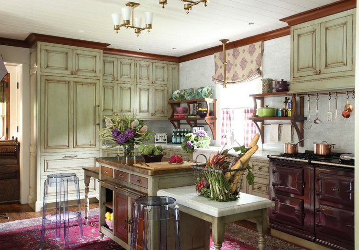 Love these rustic kitchen cabinets carriage house kitchen for Carriage house kitchen cabinets