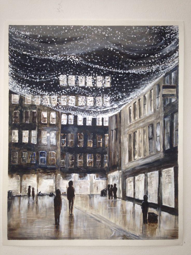 A2 acrylic painting   Glasgow merchant city