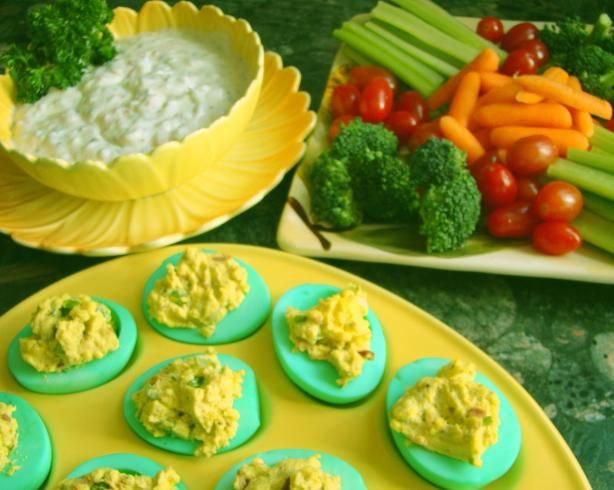 Linda s Green Eggs and Ham Appetizers from Food.com:   These are GREAT around the holidays to bring, especially to a Halloween, Christmas, Easter or St. Patrick's Day Party!!!  Cooking time is time it takes to make your hard boiled eggs.