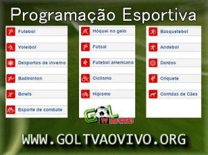 Basquete, Futebol, Futebol de Areia, Gol Tv Ao Vivo, Golf, Programação Esportiva, Rugby, Tênis, Velocidade, Vôlei