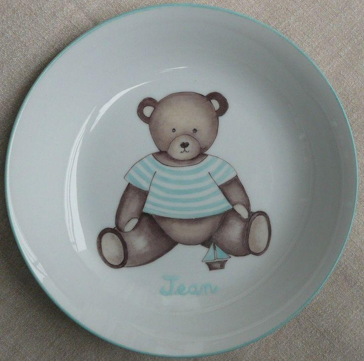 Assiette creuse pour enfant Ourson personnalisée : Autres bébé par laetitia-socirat